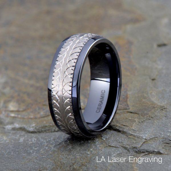 Titanium Ceramic Wedding Band, 8mm