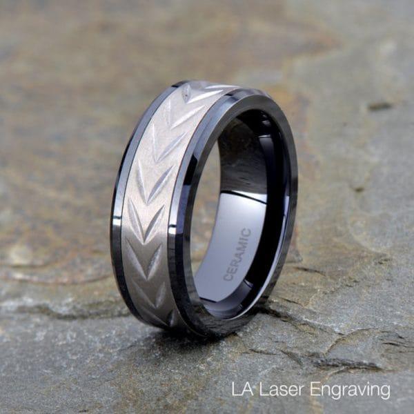 Titanium wedding band 8mm wide with ceramic satin polished beveled edge