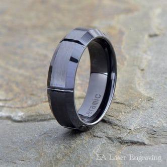Ceramic Wedding Ring, Brushed Polished, Grooved, 7mm