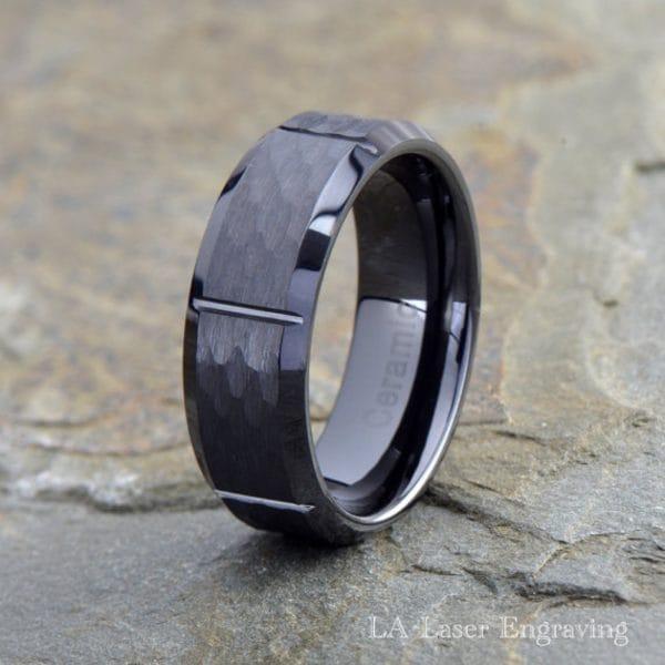 Ceramic brushed grooved wedding band 8mm wide with polished beveled edges