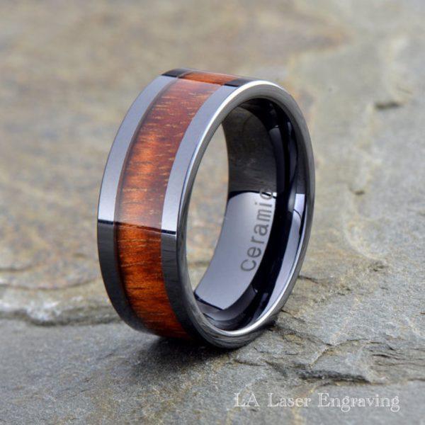 Wood Ceramic Wedding Band, 9mm