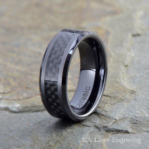 Ceramic Wedding Band, Black Carbon Fiber inlay, Polished Beveled edge, 8mm