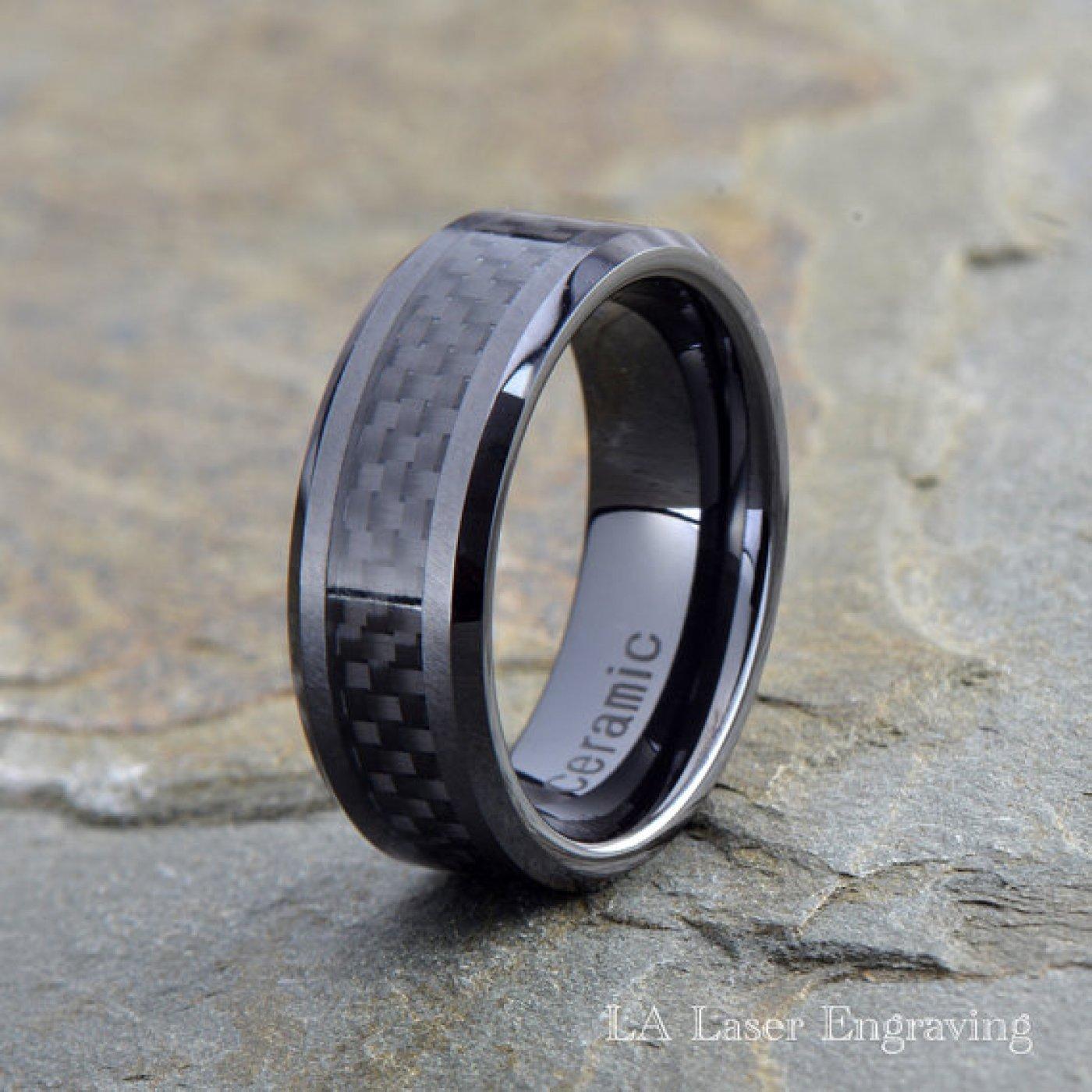 Details about  /Ceramic Black 8 MM Beveled Edge Brushed and Polished Wedding Band