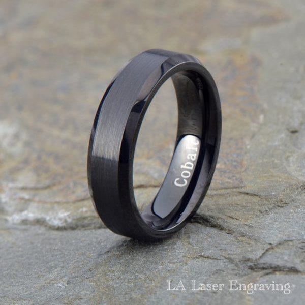 Black brushed cobalt wedding band with polished edge