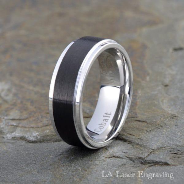 Black cobalt ring whith polished edge