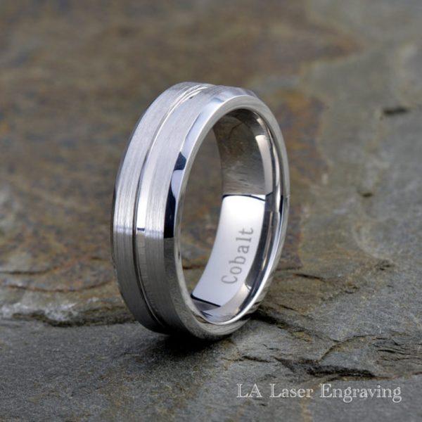 White line Brushed Cobalt wedding band with polished edge