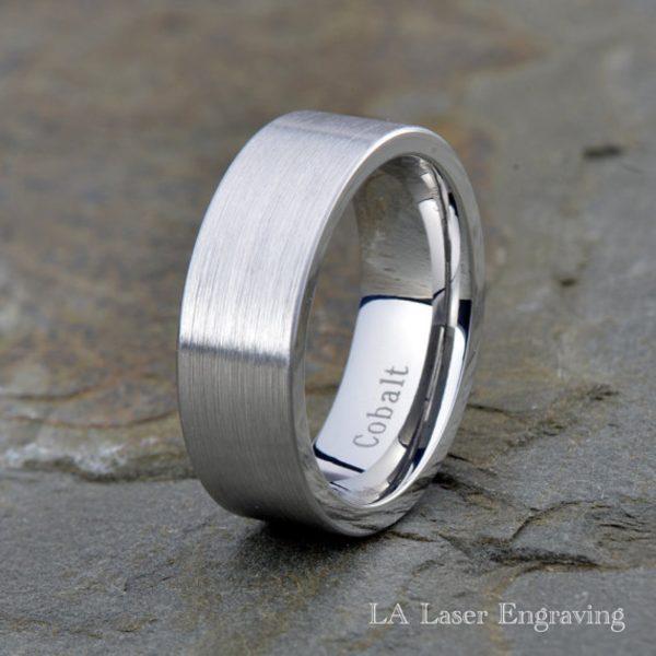 Cobalt Wedding Band, Flat Brushed 8mm Ring