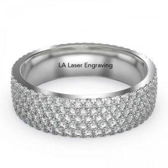 Eternity Diamond Wedding Band Five Row Micro Pave Setting 2.50 CTW 5mm  White Gold