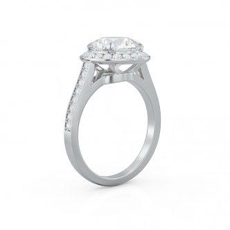 ROUND DIAMOND ENGAGEMENT SET, HALO RING .36 CTW, WEDDING BAND 0.21 CTW