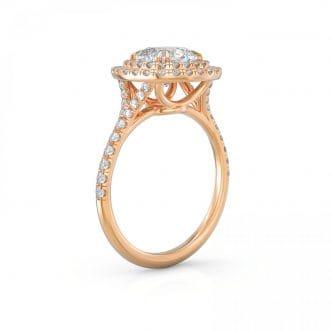 Engagement Diamond Double Halo Ring .56 CTW