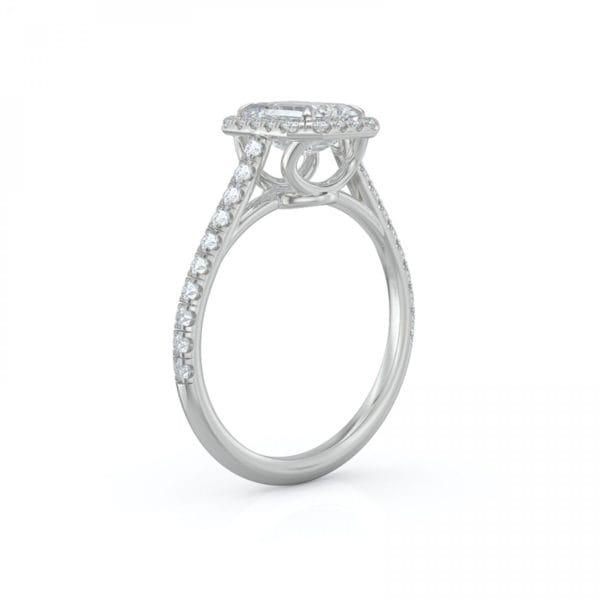 Emerald Engagement Diamond Halo Ring .38 CTW