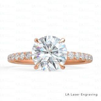 Round Moissanite Diamond Engagement Ring .73 CTW