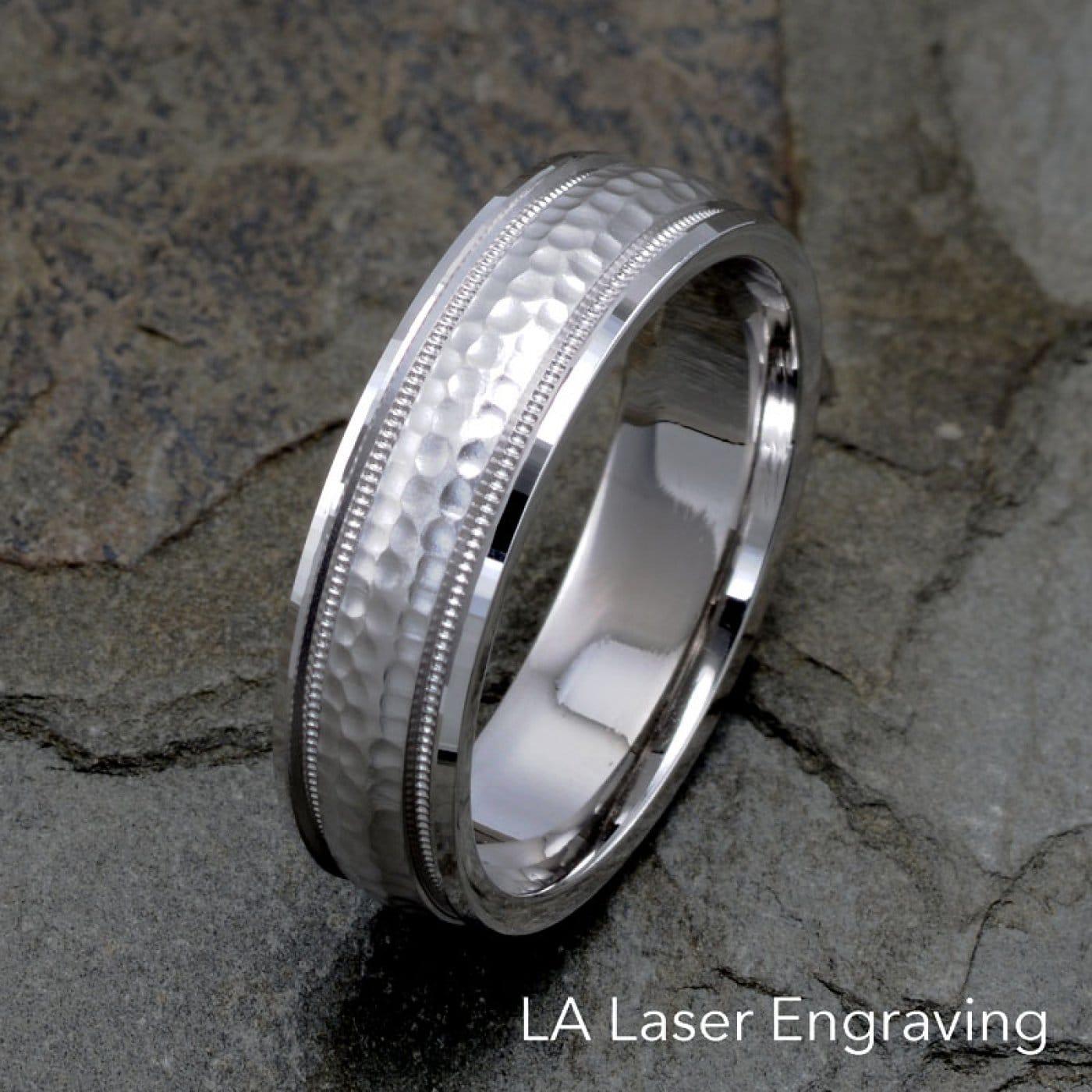 f2950804d4c82 Mens Wedding Bands Hammered Milgrain Edges, Solid Gold