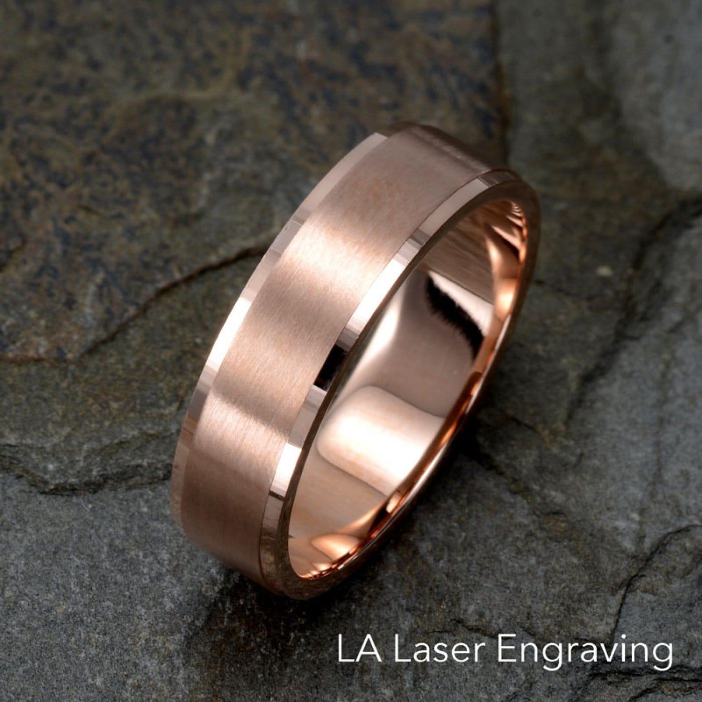Rose Gold Wedding Band.6mm Brushed 14k Rose Gold Wedding Band Polished Stepped Edge