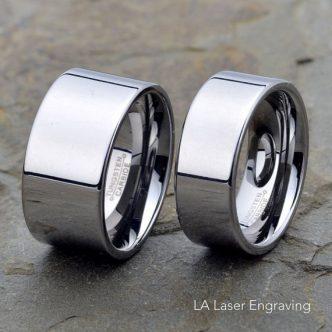 Wedding Band Set: 12mm 9mm Flat Tungsten Rings