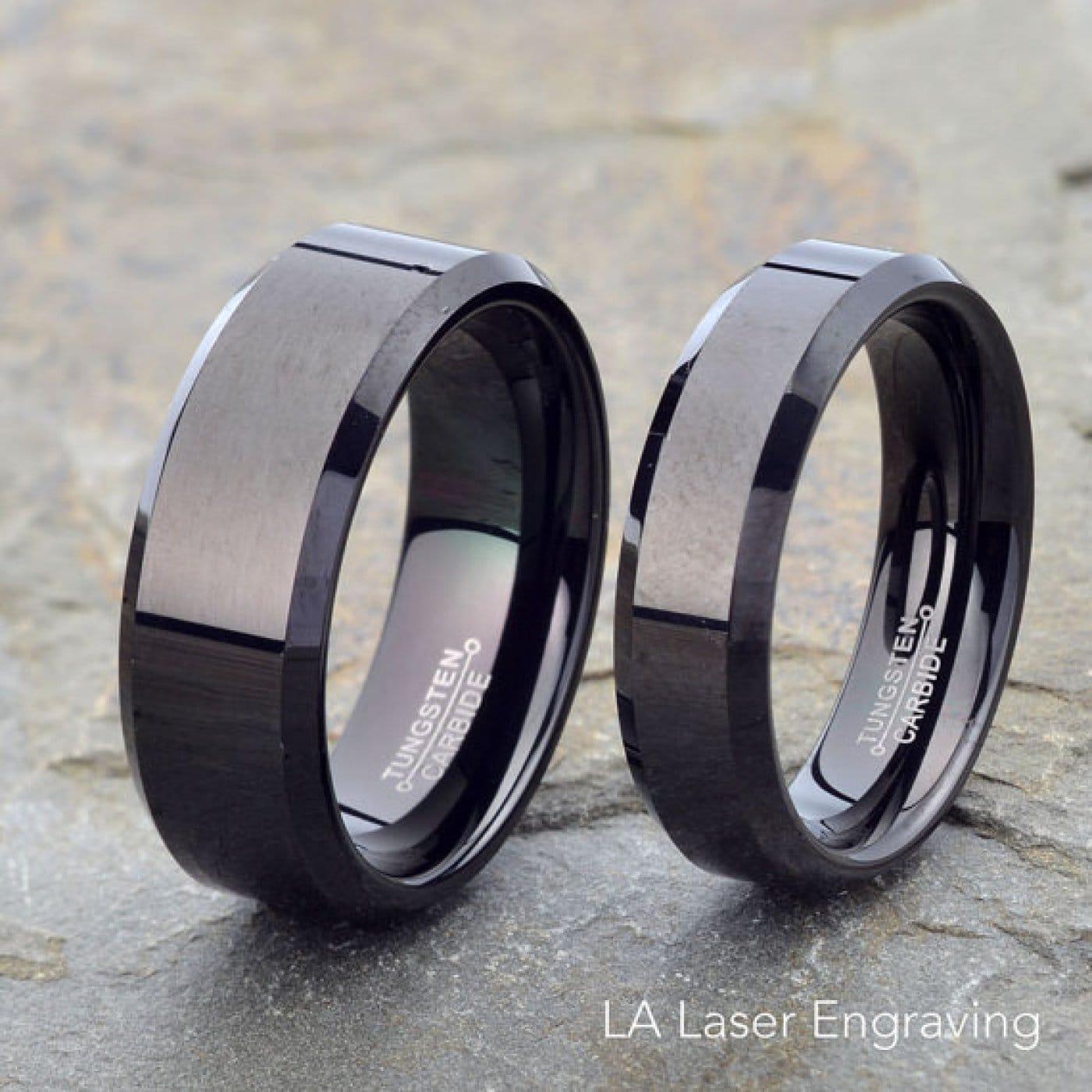 Tungsten Wedding Rings.Black Tungsten Wedding Set 8mm 6mm Rings With Beveled Edge