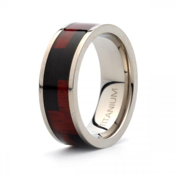 Titanium polished wedding band 8mm wide with Hawaiian Koa rosewood inlay