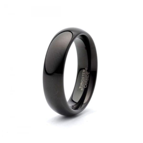 Black domed polished tungsten carbide wedding band
