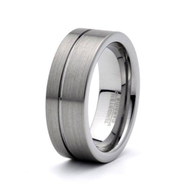 Tungsten carbide wedding band Groove 8mm