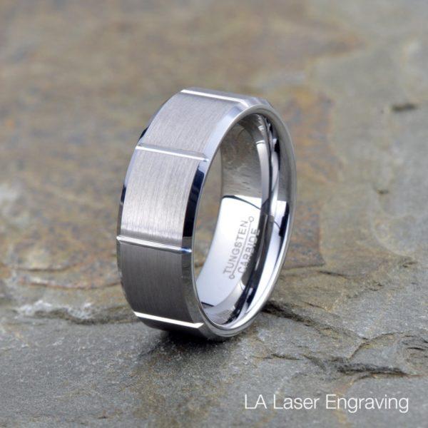 Mens Tungsten Carbide Wedding band groove Brushed Beveled polished Edge 8mm