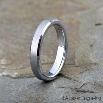 Brushed Tungsten Wedding Band Beveled Edges 4mm