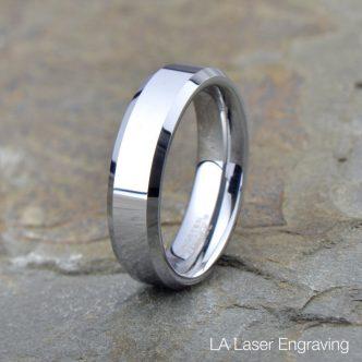 Polished Tungsten Wedding Band Beveled Edge