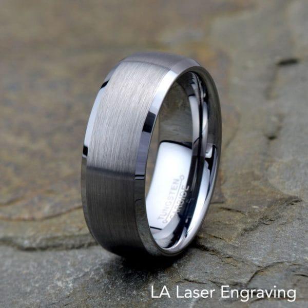 Tungsten Carbide Wedding Band Domed Brushed polished beveled edged