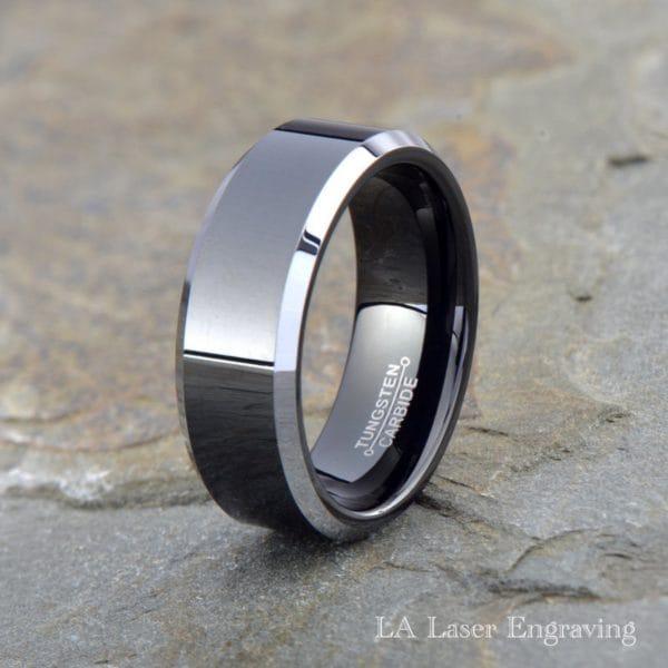 Black polished tungsten carbide wedding band gray beveled edge 8mm