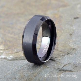 Black brushed tungsten carbide wedding band polished beveled edge