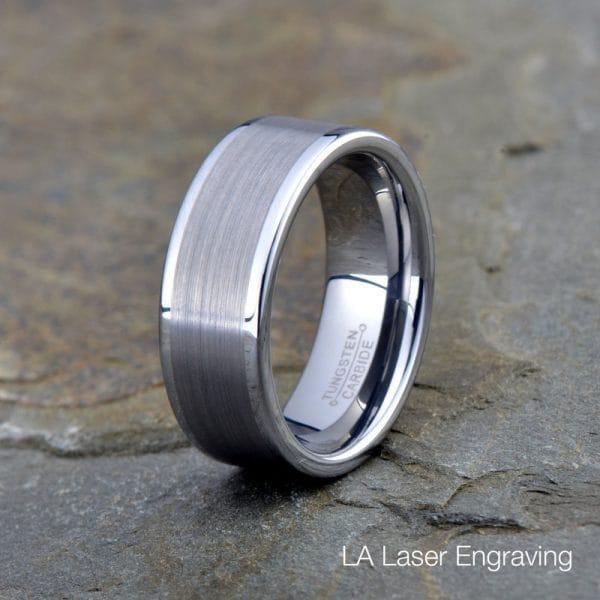 brushed tungsten carbide wedding band ring 8mm