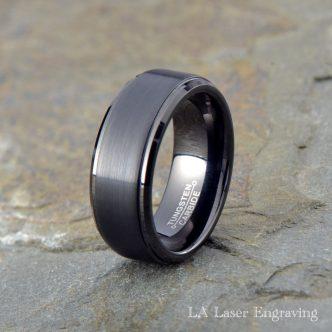 Black brushed tungsten carbide wedding ring