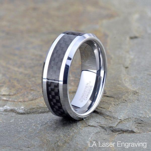 tungsten wedding ring black carbon fiber 8mm