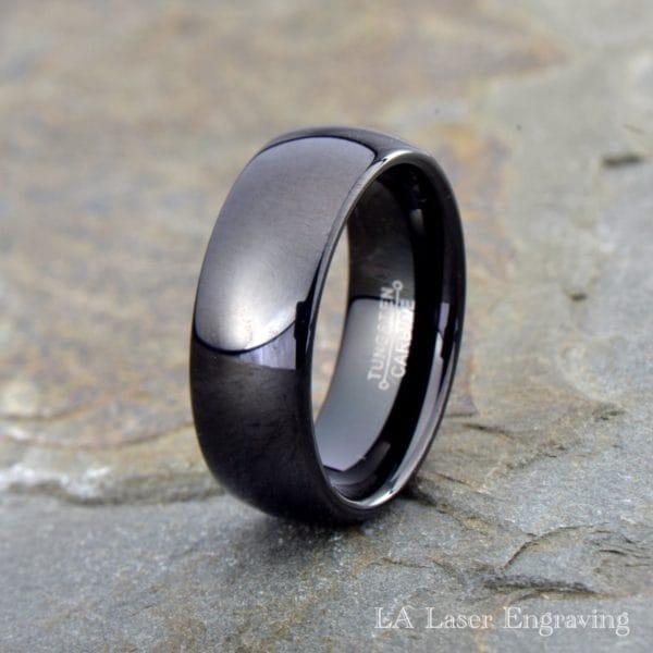 Black tungsten carbide wedding band domed polished 8mm