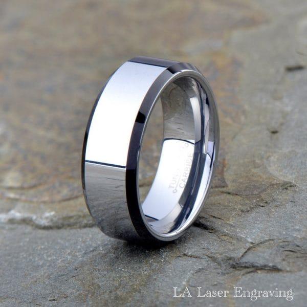 tungsten wedding band black polished edge