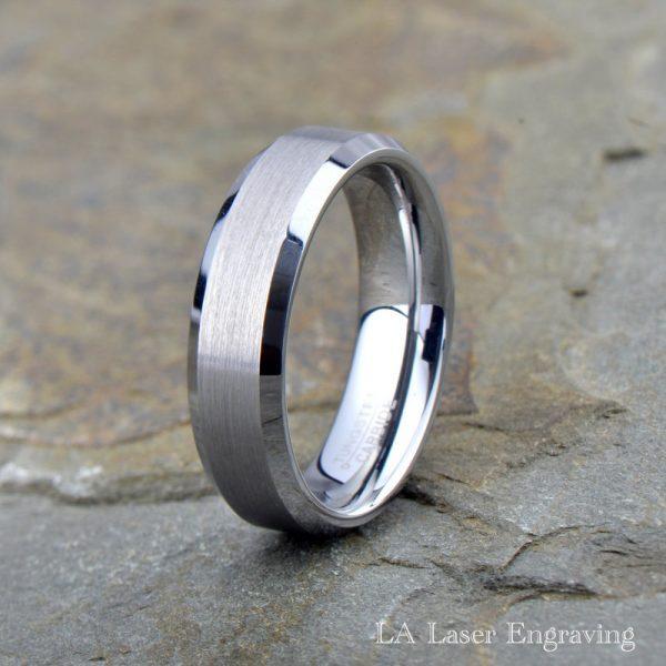 tungsten wedding band brushed polished beveled edge