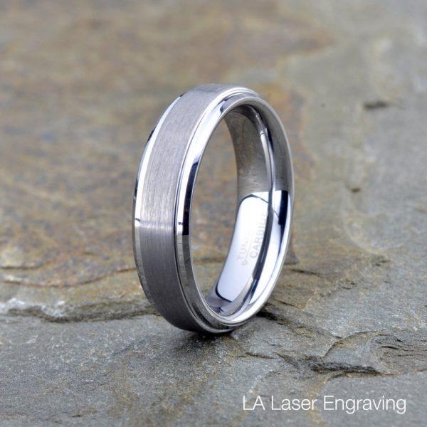 tungsten wedding band brushed polished stepped edge