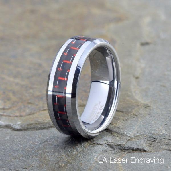 tungsten wedding band red carbon fiber